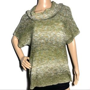 Dressbarn Green Short Sleeve Cowl Neck Sweater XL